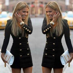 Stylish Black Gold Button Arrayed Dress!